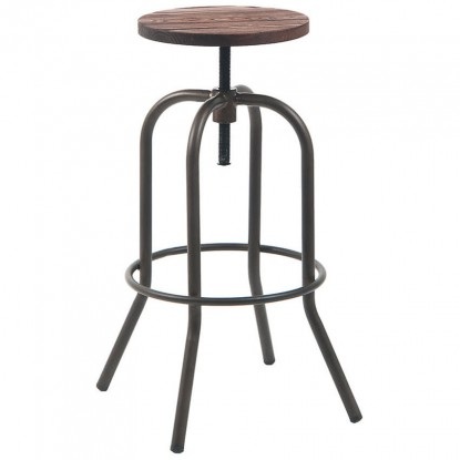 Swivel Backless Metal Bar Stool in Dark Grey Finish with Walnut Wood Seat