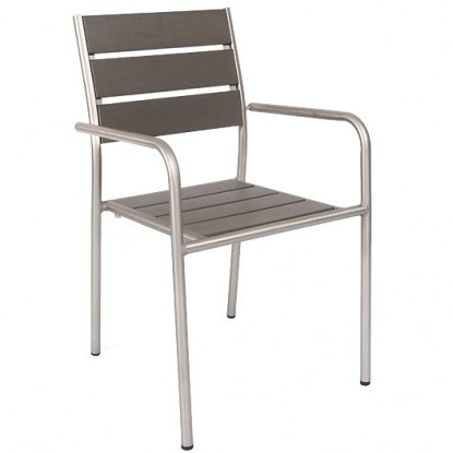 Aluminum Patio Arm Chair with Grey Plastic Teak