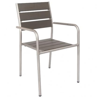 Aluminum Patio Arm Chair with Grey Plastic Teak