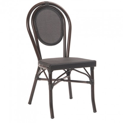 Aluminum Bamboo Patio Chair with Black Rattan