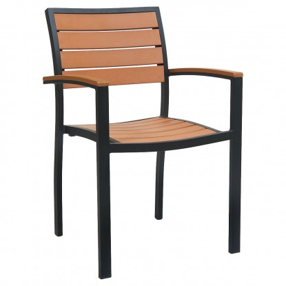 Black Aluminum Plastic Teak Patio Arm Chair