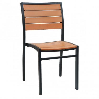 Black Aluminum Plastic Teak Patio Chair
