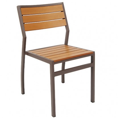 Aluminum Rust Colored Patio Chair with Plastic Teak