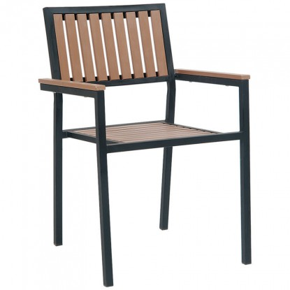 Black Metal Armchair with Natural Finish Vertical Slat Plastic Teak