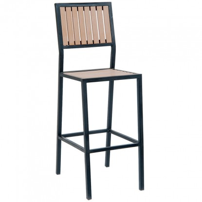 Black Metal Bar Stool with Natural Finish Vertical Slat Plastic Teak