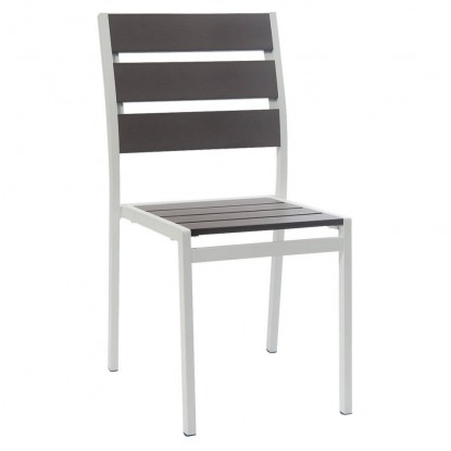 White Aluminum Restaurant Patio Chair with Grey Plastic Teak