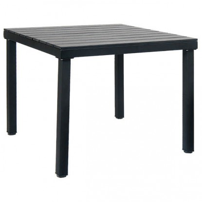 Table with Black Metal Frame & Black Plastic Teak Top