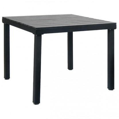 Table with Black Metal Frame & Black Plastic Teak Top