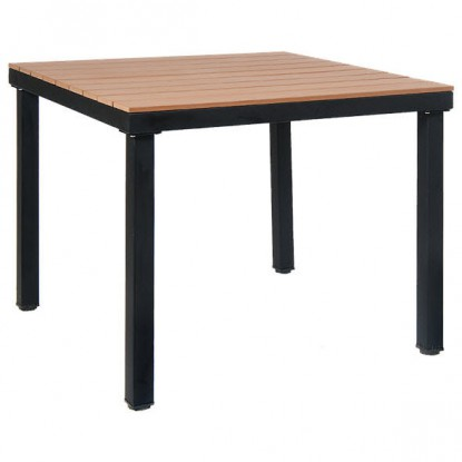 Table with Black Metal Frame and Natural Finish Plastic Teak Top
