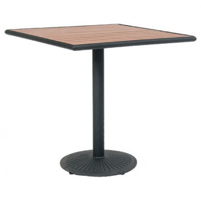 Natural Finish Plastic Teak Top with Metal Base
