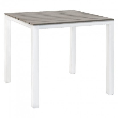 Table with White Metal Frame and Grey Finish Plastic Teak Top