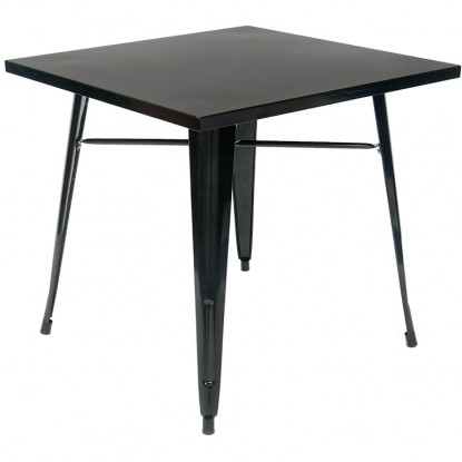 Black Metal Table in Black Finish - Table Height