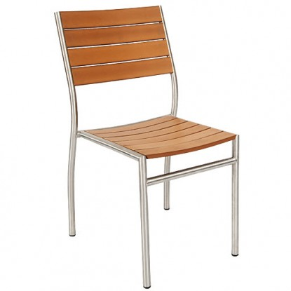 Stainless Steel Patio Chair with Plastic Teak Seat and Back