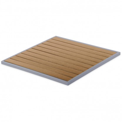 Aluminum Patio Table Top with Plastic Teak Slats - Square