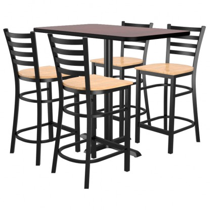 Bar Stools shown with Natural Wood Seat. Table Top in Black / Mahogany Finish.