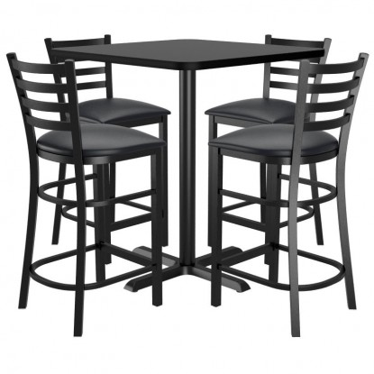 Bar Stools shown with Black Vinyl Seat. Table Top in Black / Mahogany Finish.
