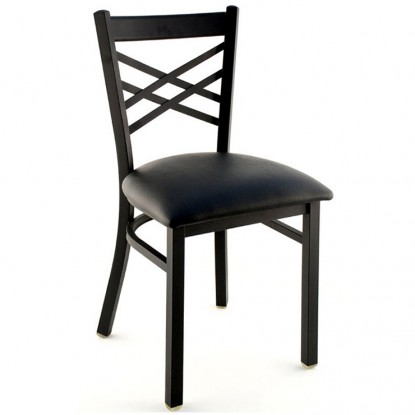 X Back Metal Restaurant Chair - Black Finish with a Black Vinyl Seat