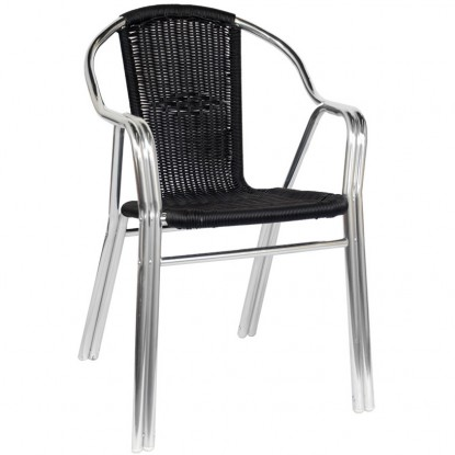 Black Rattan Aluminum Chair