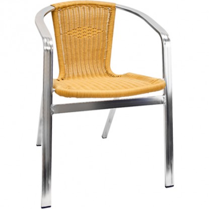 Double Tube Aluminum and Rattan Patio Chair