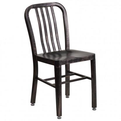 Indoor - Outdoor Metal Chair in Black Finish