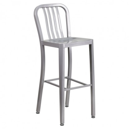 Indoor - Outdoor Metal Bar Stool in Silver Finish
