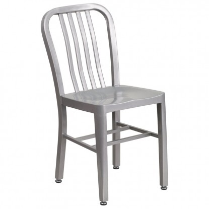 Indoor - Outdoor Metal Chair in Silver Finish