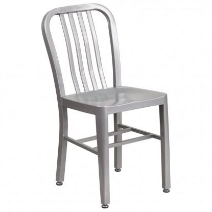 Indoor - Outdoor Metal Chair in Silver Finish
