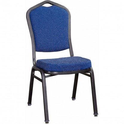 Premium Metal Stack Chair - Silver Vein Frame with Blue 2413 Fabric