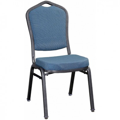 Premium Metal Stack Chair - Silver Vein Frame with Blue 2162 Fabric