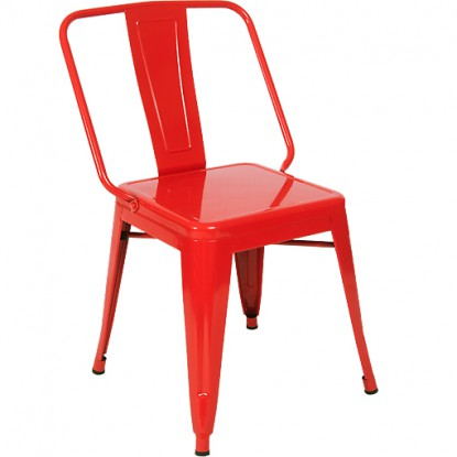 Extra Wide Bistro Style Metal Chair in Red Finish