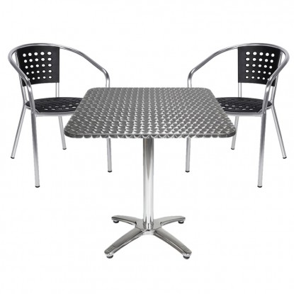 Aluminum Table and Chair with Black Resin Seat and Back