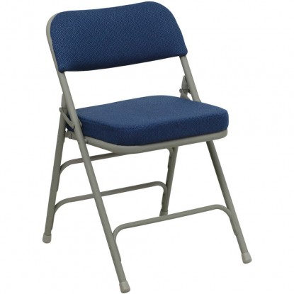 Premium Curved Triple Braced Upholstered Metal Folding Chair