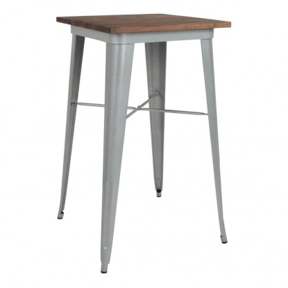 Industrial Silver Bar Height Table with Walnut Wood Top