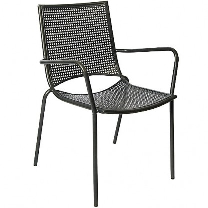 Stackable Iron Patio Arm Chair with Iron Mesh Seat and Back