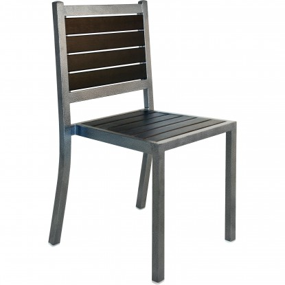 Plastic-Teak Metal Patio Chair