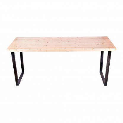 "Industrial Series Communal Table with 2"" Solid Wood Top"
