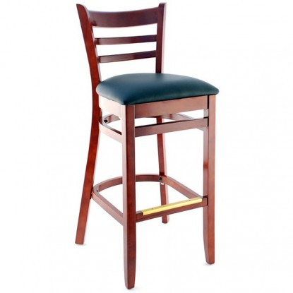 Ladder Back Bar Stool - Mahogany Finish with a Black Vinyl Seat