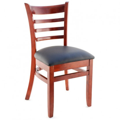 Premium US Made Ladder Back Wood Chair - Mahogany Finish with a Black Vinyl Seat