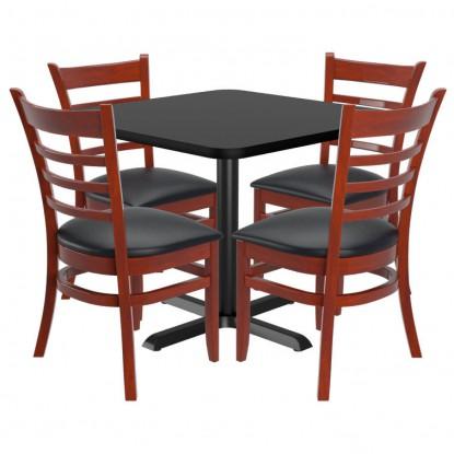 Chairs shown in Dark Mahogany Finish & Black Vinyl Seat. Table Top in Black / Mahogany Finish.