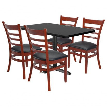 Chairs shown in Dark Mahogany Finish & Black Vinyl Seat. Table Top in Black / Mahogany Finish.