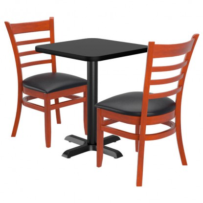 Chairs shown in Mahogany Finish & Black Vinyl Seat. Table Top in Black / Mahogany Finish.