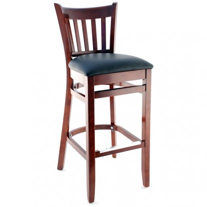 Premium US Made Vertical Slat Wood Bar Stool - Dark Mahogany Finish with a Black Vinyl Seat