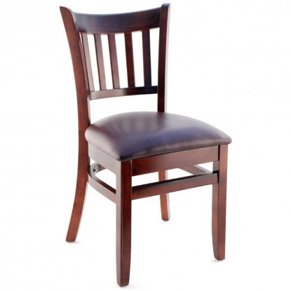 Premium US Made Vertical Slat Wood Chair - Dark Mahogany Finish with a Wine Vinyl Seat