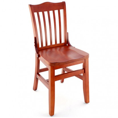 Premium US Made School House Wood Chair - Mahogany Finish with a Wood Seat