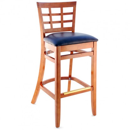 Window Back Bar Stool - Cherry Finish with a Wine Vinyl Seat