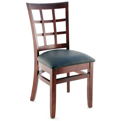 Premium US Made Window Back Wood Chair - Dark Mahogany Finish with a Black Vinyl Seat