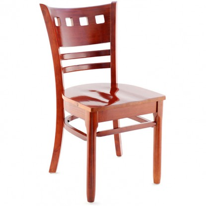 Premium US Made American Back Wood Chair - Mahogany Finish with a Wood Seat