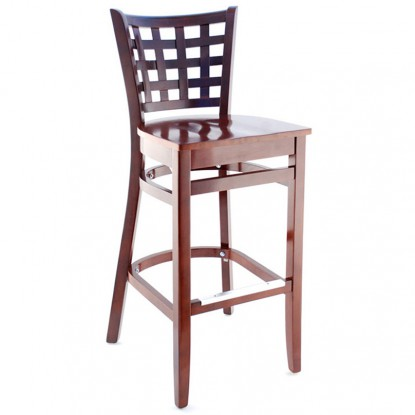Lattice Back Wood Bar Stool - Dark Mahogany Finish with a Wood Seat
