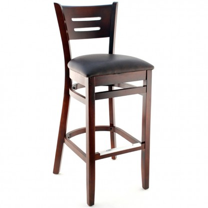 Henry Wood Bar Stool  - Dark Mahogany Finish with a Buckskin Vinyl Seat