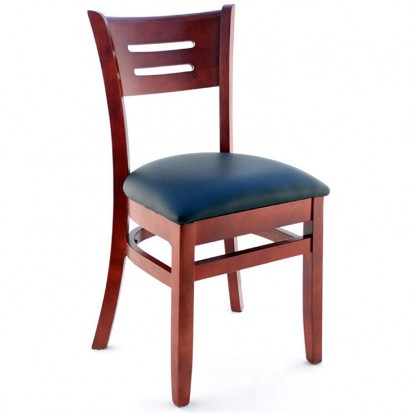 Premium US Made Henry Wood Chair - Mahogany Finish with a Black Vinyl Seat